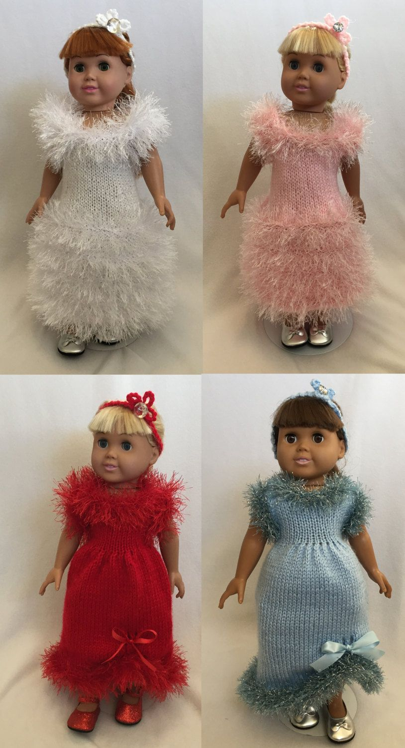 Holiday Evening Gowns, Knitting Patterns for 18 inch Dolls