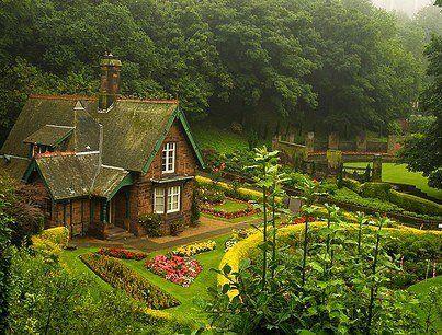 In a cottage in a garden