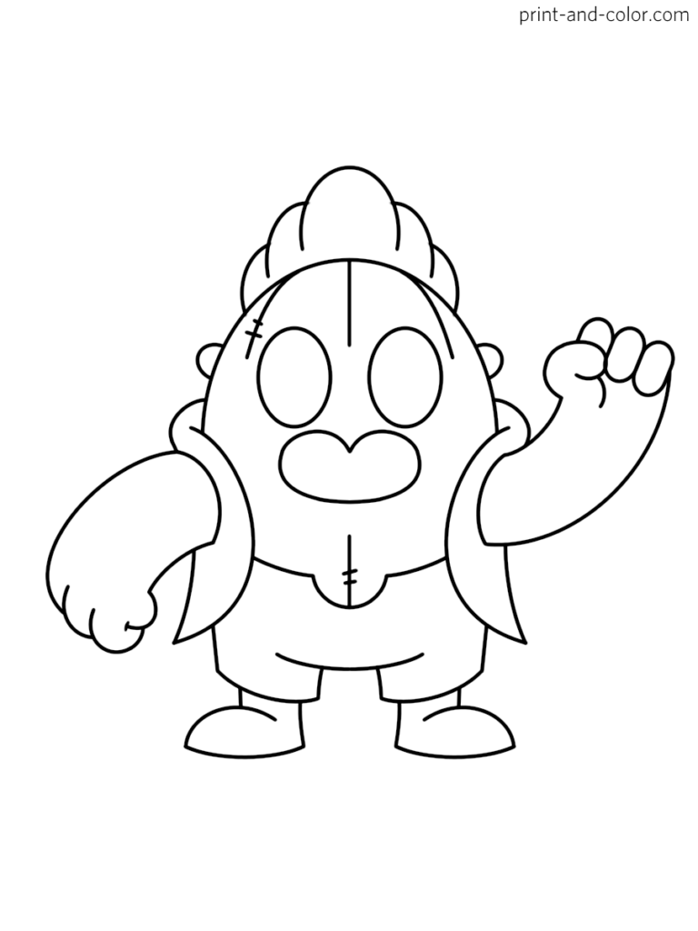 Brawl Stars Coloring Page Character Spike Star Coloring Pages Coloring Pages Simpsons Art