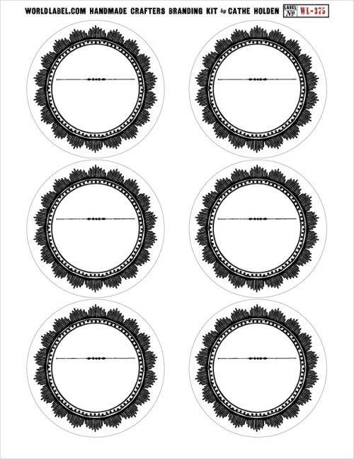 Round labels from worldlabelcom in a vintage theme size 333quot circle use for canning lids for Free round label templates