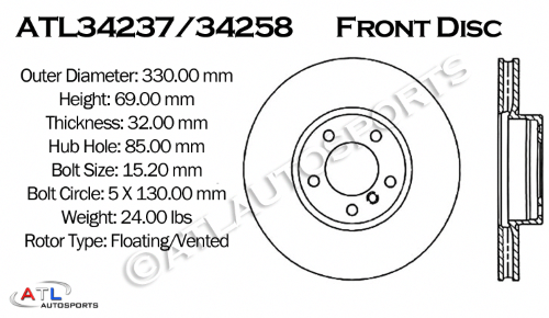 ATL Autosports Performance Brake Rotors Front Pair Fits