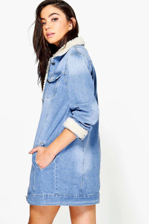 Borg Longline Denim Jacket Boohoo Longline Denim Jacket Jacket Outfit Women Denim Jacket [ 1500 x 1000 Pixel ]