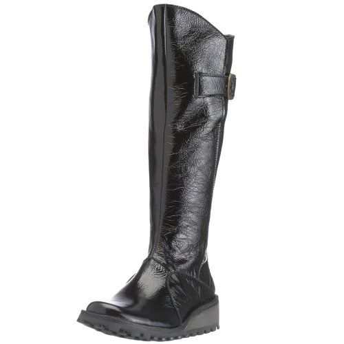 b5855e6b43b Fly London Mol Black Patent Leather Boots Fly London Boots