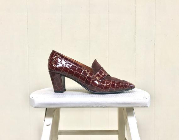 Vintage 1980s Brown Stamped Patent Leather Shoes, 80s Faux