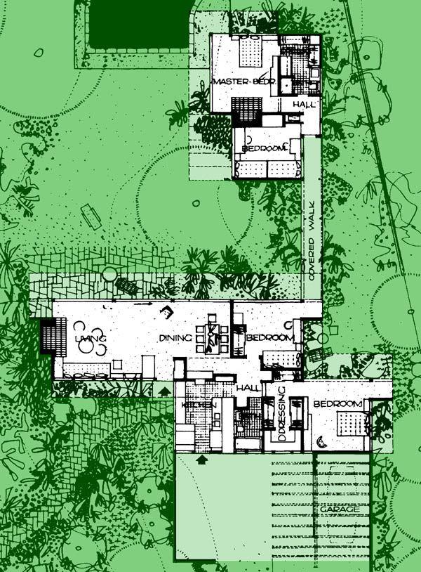 20a bailey house richard neutra plan extant for Case study houses floor plans