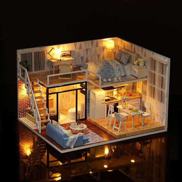 QUARTO BONITO Nova chegada Em Miniatura Casa De Bonecas de Madeira Com Móveis DIY Fidget Brinquedos Para As Crianças Crianças Presente de Aniversário Azul Vezes l023 #casaspequeñas