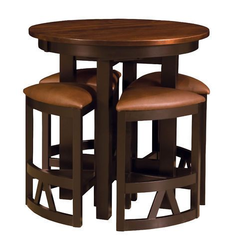 Amish Pub Table Chairs Set Bar Height High Dining Stools ...