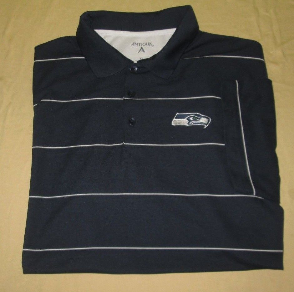 SEATTLE SEAHAWKS NFL Polo Golf SHIRT Sz XL - Blue - Antigua - 100% Poly daafb502e
