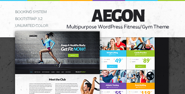 health club wordpress template  Aegon - Responsive Gym/Fitness Club WordPress Theme | WordPress and ...