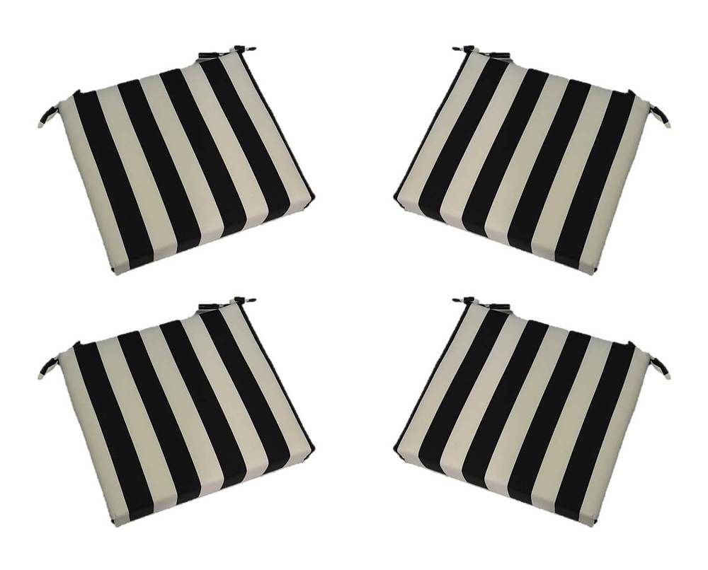 set of 4 indoor outdoor black white stripe chair on Black And White Striped Outdoor Seat Cushions id=69488