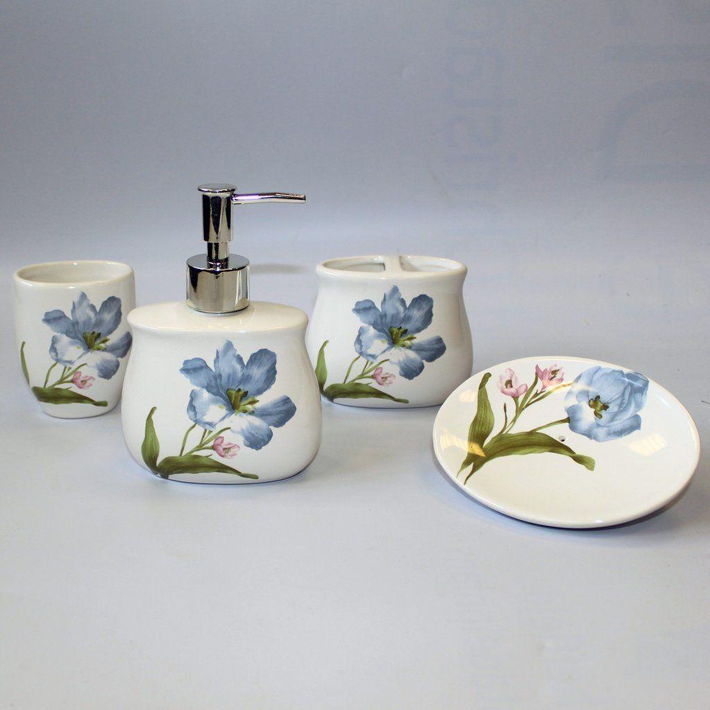 Blue Lillies Design Ceramic Bathroom Set https://harringtons-gift ...