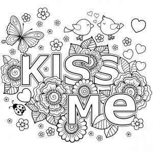 Mandala Spruch Kiss Me Mandalas Ausmalen Blumen Vorlage Und