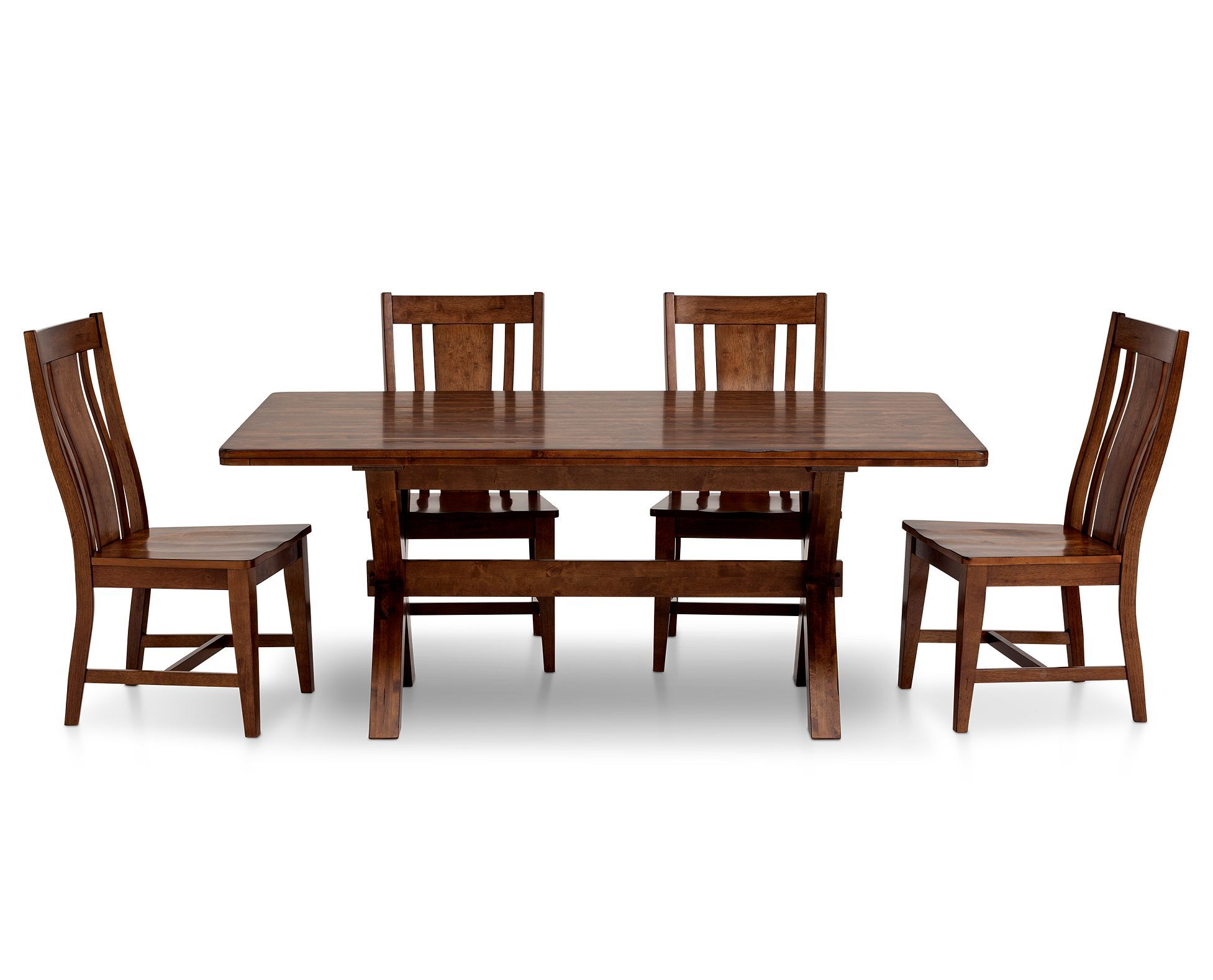 Waverly Picnic Dining Set With Slat Back Side Chairs Has Classic Trestle Design With X Shaped Details In Your Choice Of Brown Rowe Furniture Furniture Dining