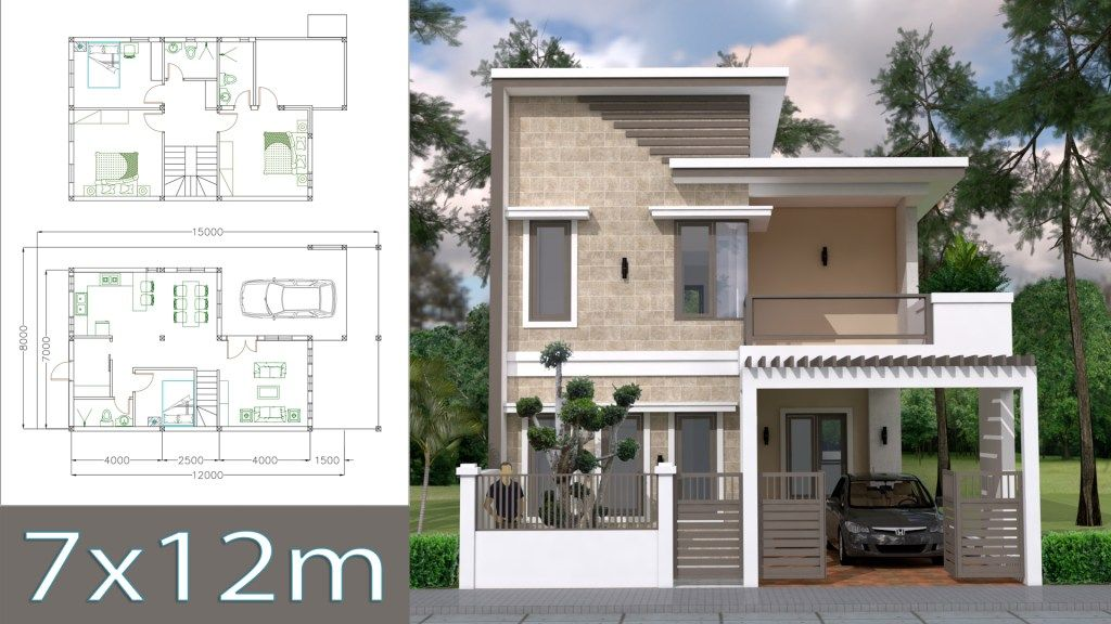 Home Design Plan 7x12m with 4 Bedrooms Plot 8x15 - Sam Phoas Home