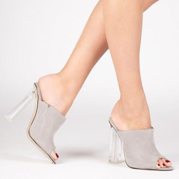 Elisa Perspex Heel Mule In Grey Faux Suede