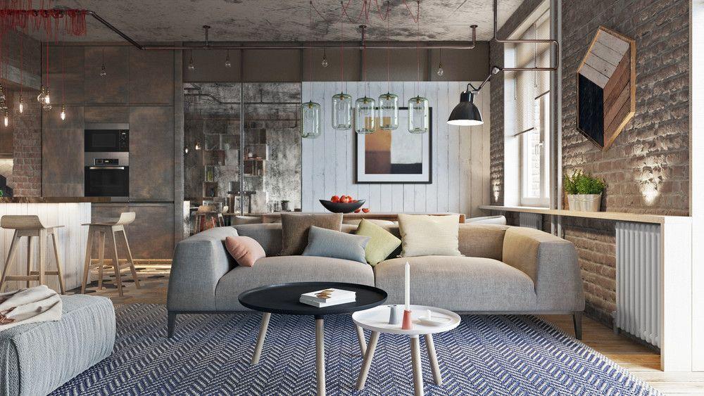 Industrial Living Room Design Inspiration Industrial Style  3 Modern Bachelor Apartment Design Ideas Decorating Inspiration