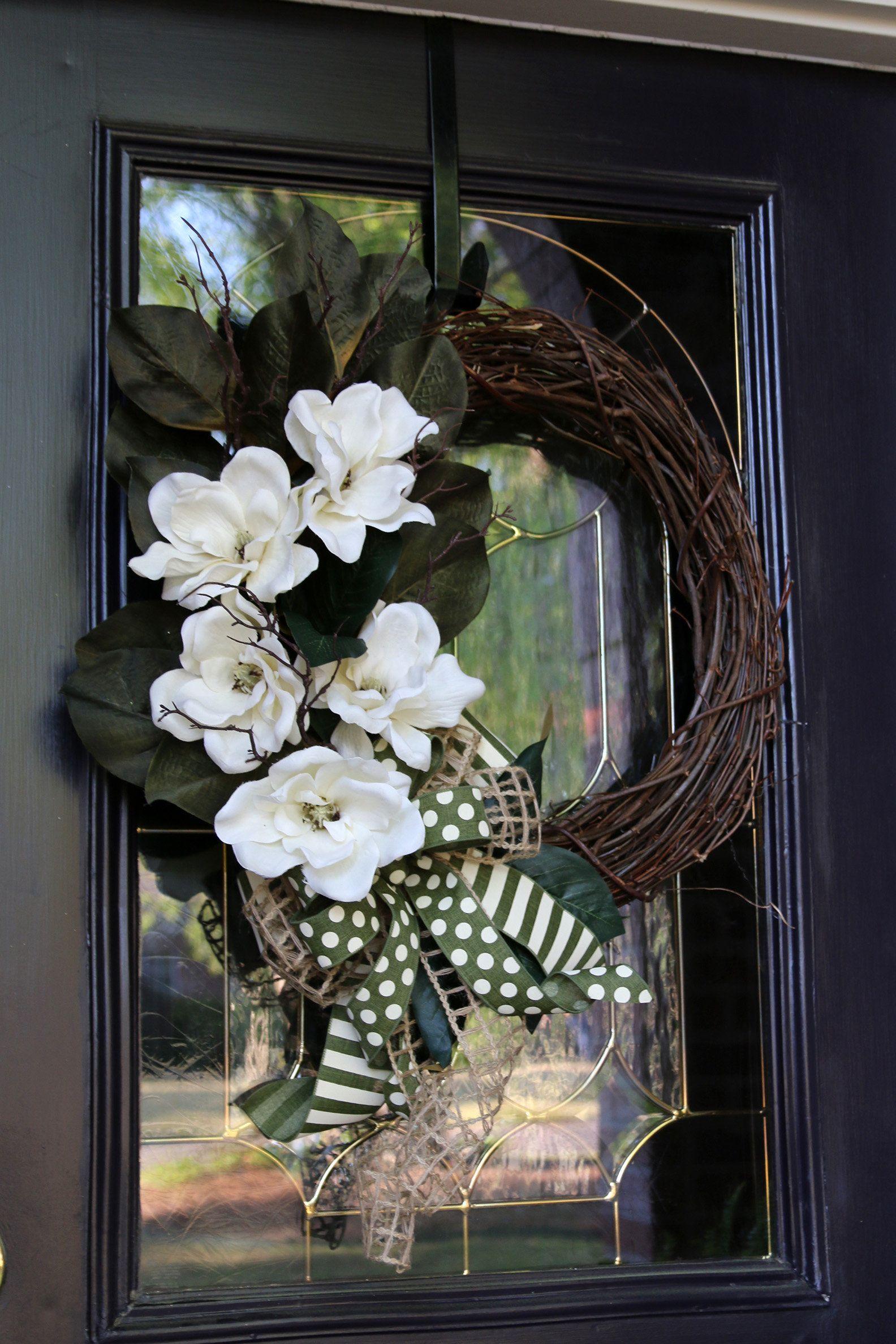 Photo of Easter wreath, Magnolia wreath, Easter Front Door wreath, Magnolia Door Decor, Year Round wreath, Double Door Magnolia wreath, Easter Decor