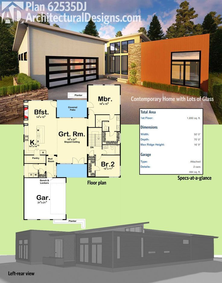 Plan 62535dj Contemporary Home With Lots Of Glass House Plans Modern House Plans Building A Container Home