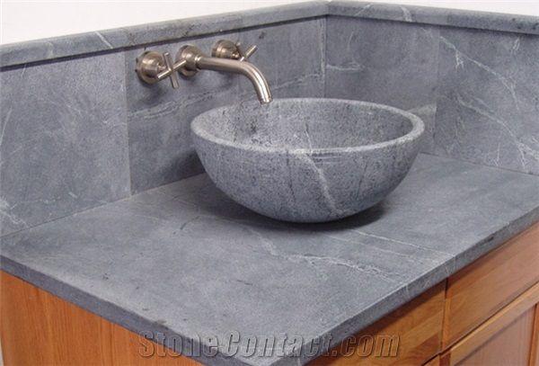 Soapstone Round Vessel Sink Santa Rita Venata Grey Soapstone