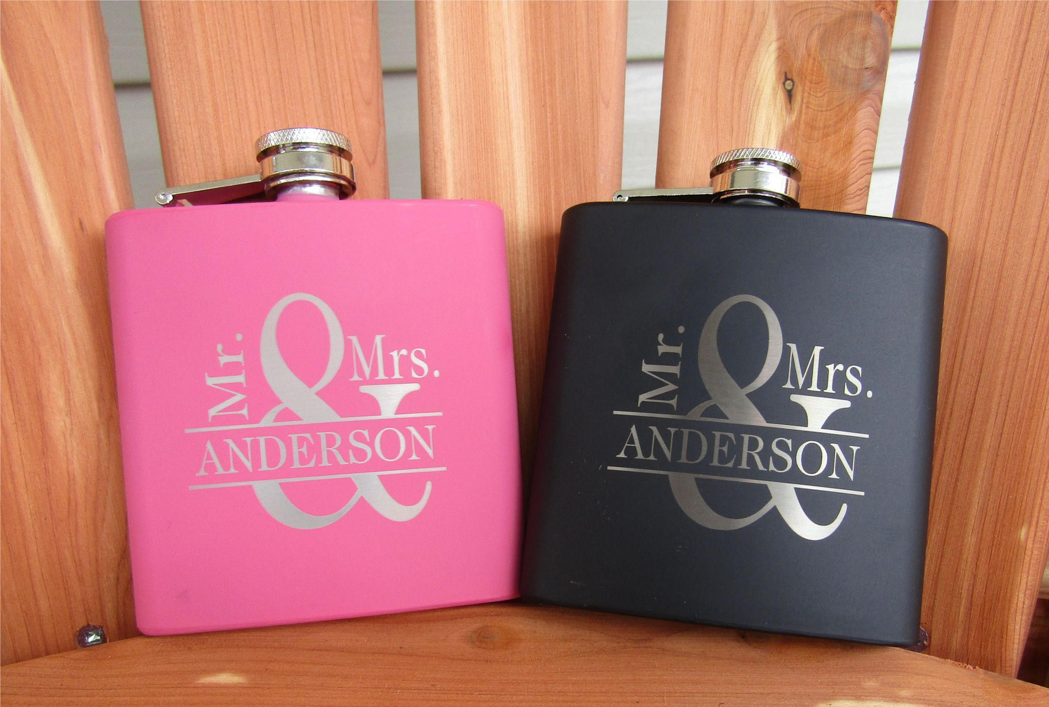 His and her flasks personalized flasks wedding gift for