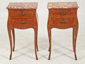 PAIR OF LOUIS XV STYLE KINGWOOD MARBLE TOP COMMODES