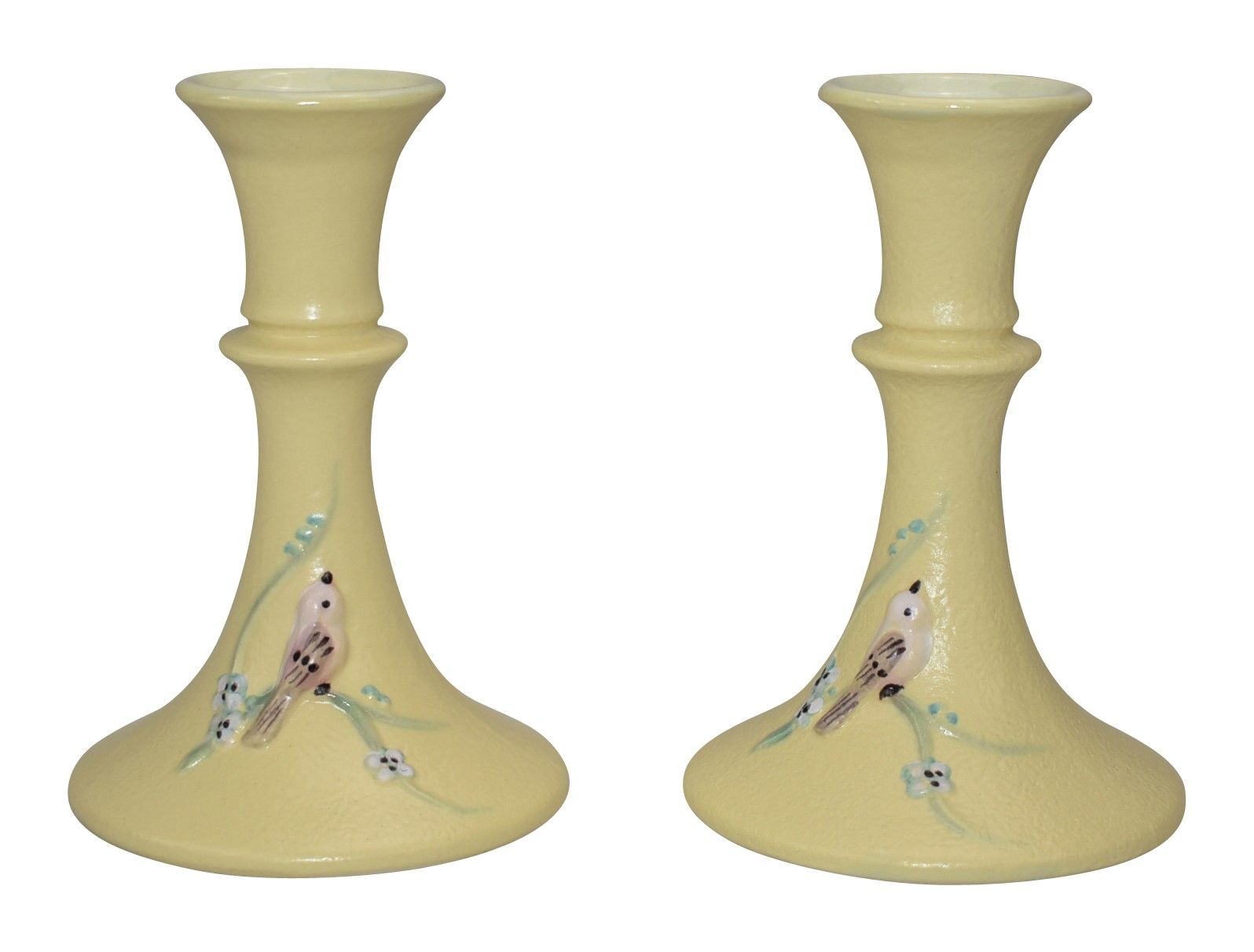Hull pottery serenade yellow candle holders s hull pottery in