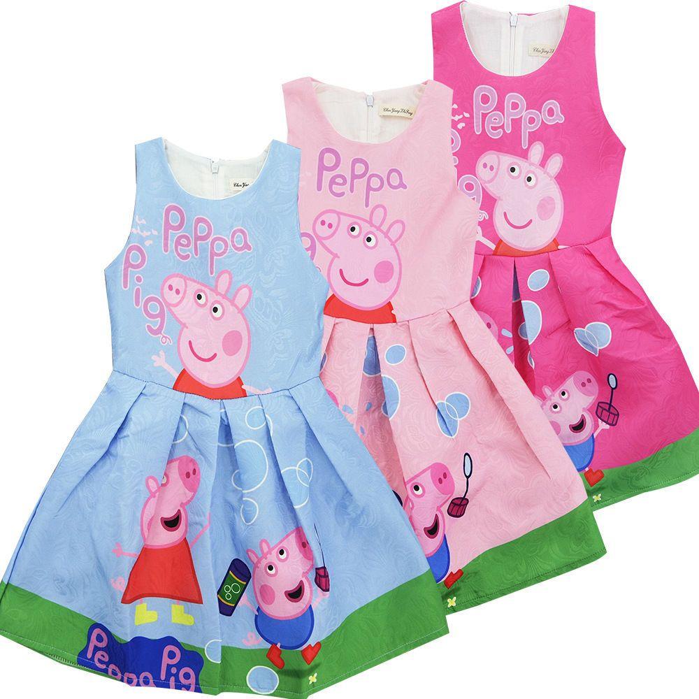 Details zu Neu Mädchen Peppa Pig Baumwolle Kleid Sommerkleid ...