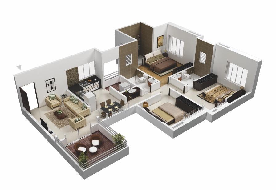 25 More 3 Bedroom 3d Floor Plans Architecture Design Online