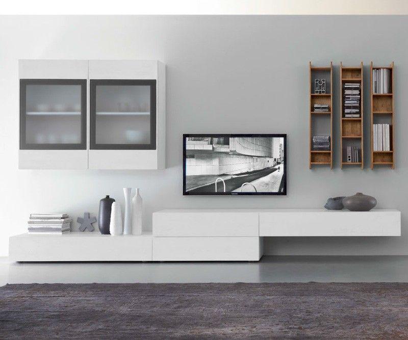 Wohnwand hängend modern schwarz  FGF Mobili Wohnwand C38B | Wohnzimmer, Wanddesign und TV Möbel