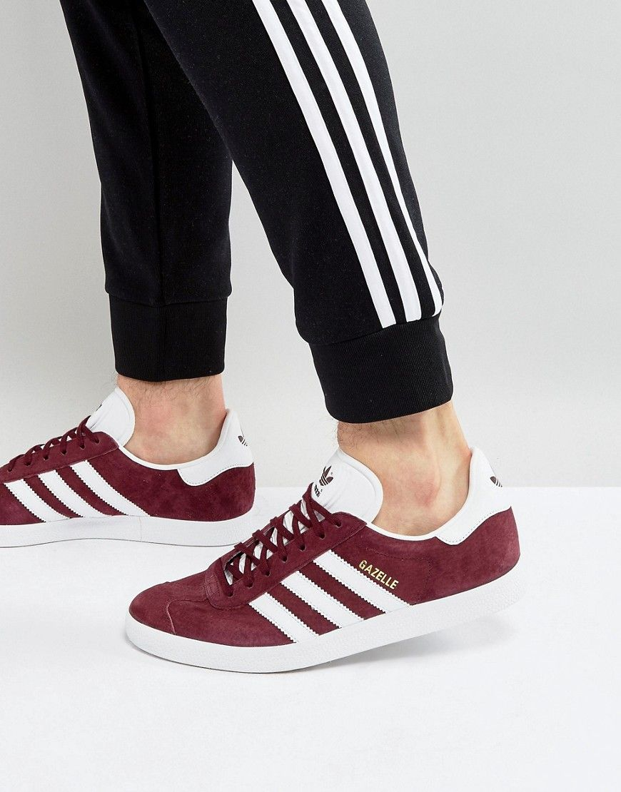 release date 9ee1e 3164d ADIDAS ORIGINALS GAZELLE SNEAKERS IN BURGUNDY BB5255 - RED.  adidasoriginals   shoes