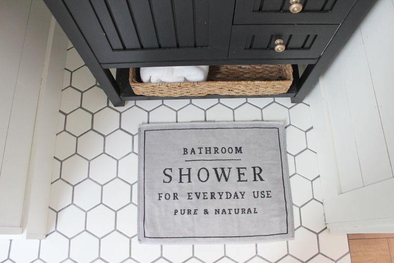 Hex Tile Modern Farmhouse Bathroom Bathroom Floor Tiles