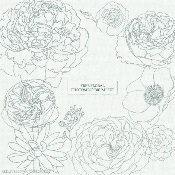 free floral photoshop brush set
