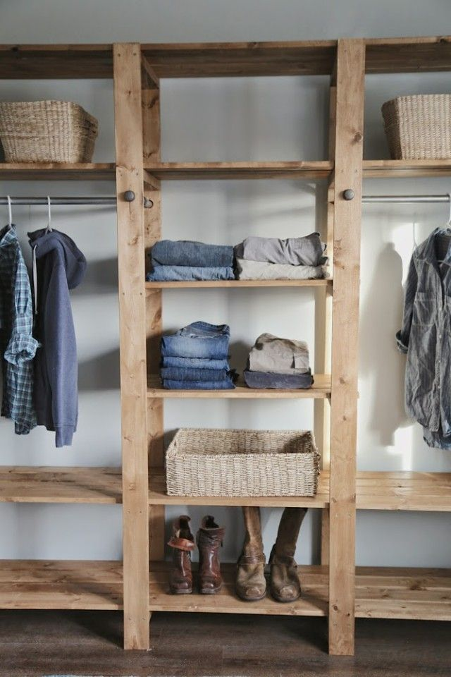 diy industrial style wood slat closet system with galvanized pipes house keeping pinterest. Black Bedroom Furniture Sets. Home Design Ideas