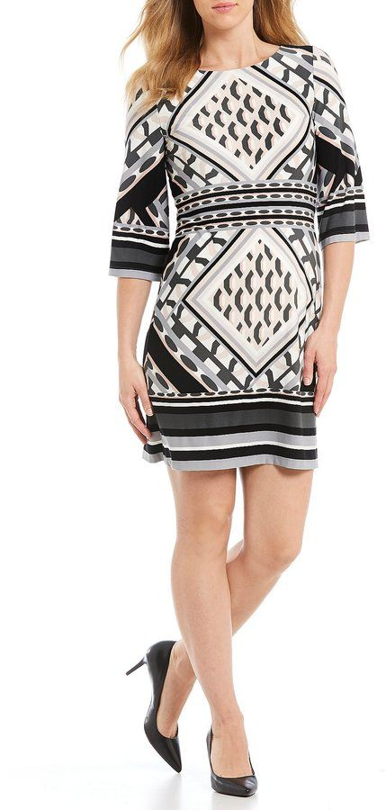 Calvin Klein Geo-Print Matte Jersey Shift Dress