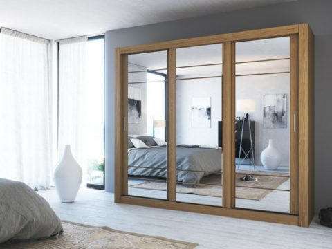 Instrument Cleo 2 Sliding Mirror Wardrobe 250cm Shetland Oak Mirrored Wardrobe Bedroom Design Furniture