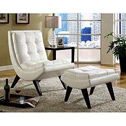 Amazing INSPIRE Q Albury White Faux Leather Chair With Ottoman By INSPIRE Q
