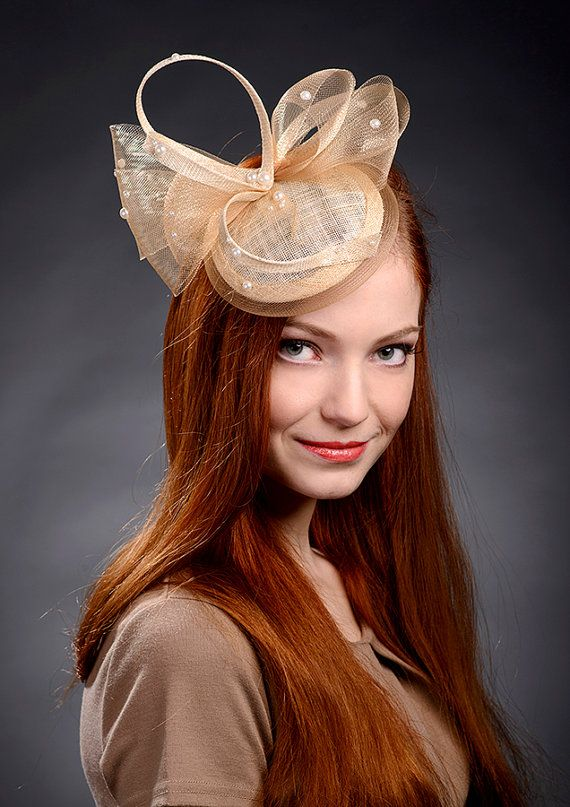 Beige champagne gold fascinator hat for weddings by MargeIilane ... d4637b92070