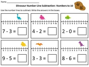 dinosaur number line addition subtraction within 10 tpt free lessons kindergarten math. Black Bedroom Furniture Sets. Home Design Ideas