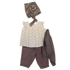 Baby Girl Linen Vintage Romper-Dusky Mauve and Stripe Trim-One Piece ...