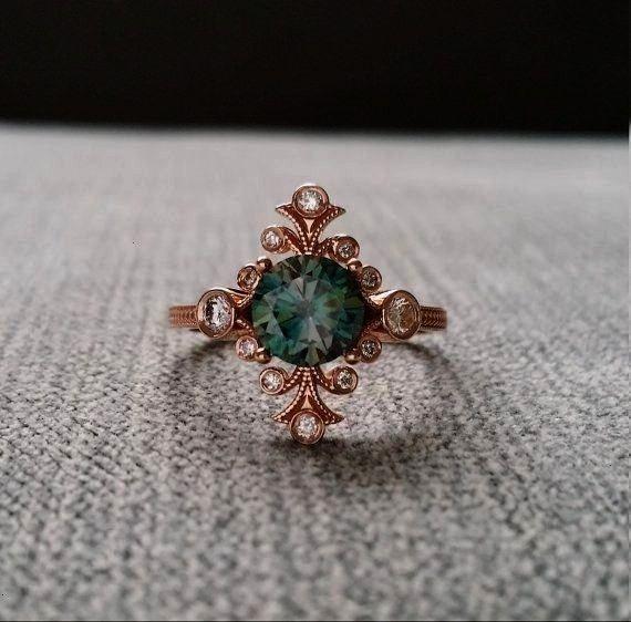 Diamant Verlobungsring böhmischen viktorianischen antiken Jugendstil  Jewelry Moissanite blaugrün Diamant Verlobungsring böhmischen viktorianischen antiken...
