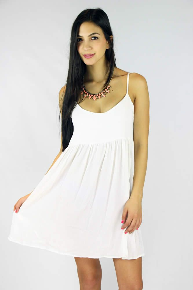 Lucy Babydoll Dress - White | Cream dresses for photo shoot ...