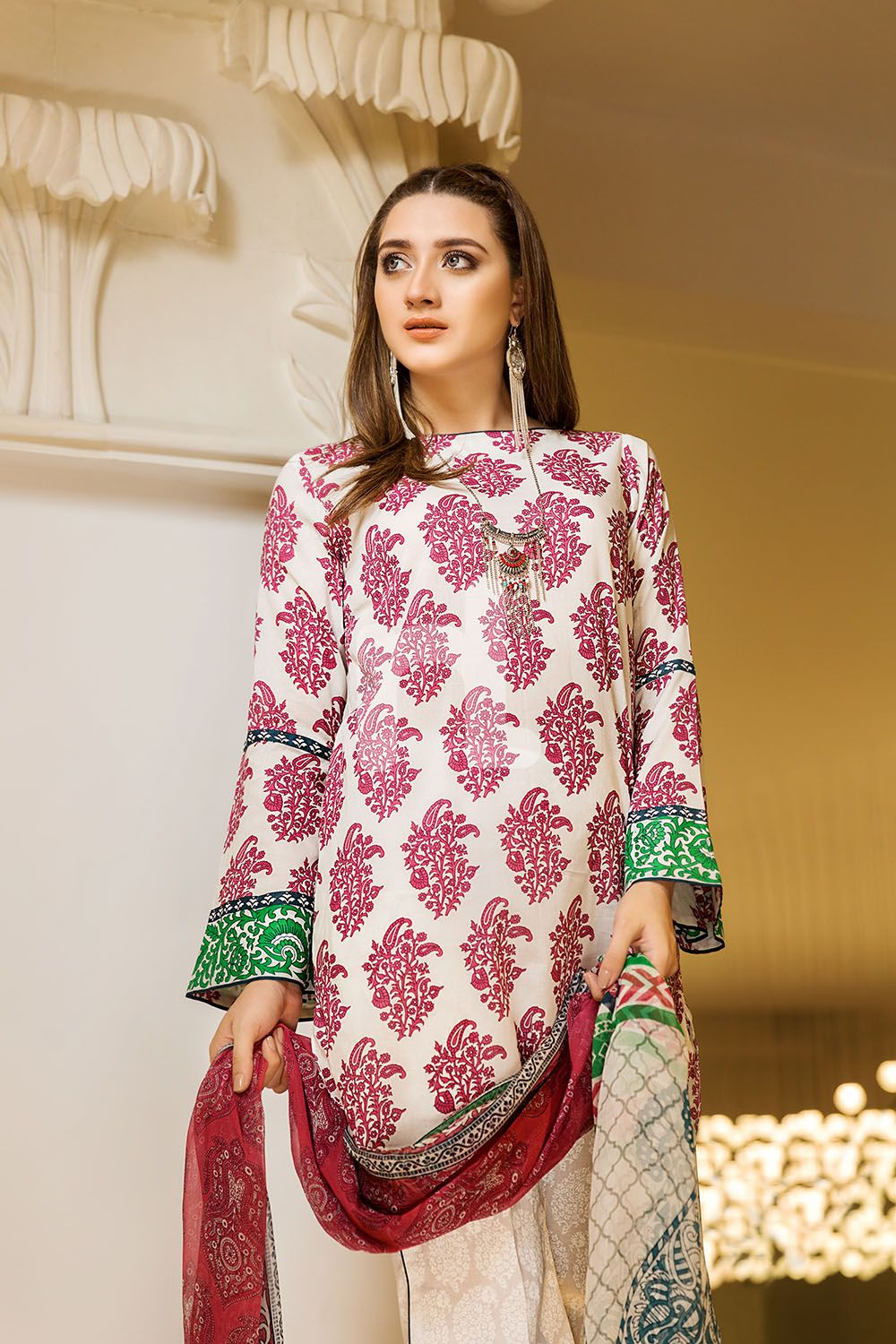 1fede4373f Graceful Printed off white 3 piece unstitched pret by Nishat Linen casual  prets 2019