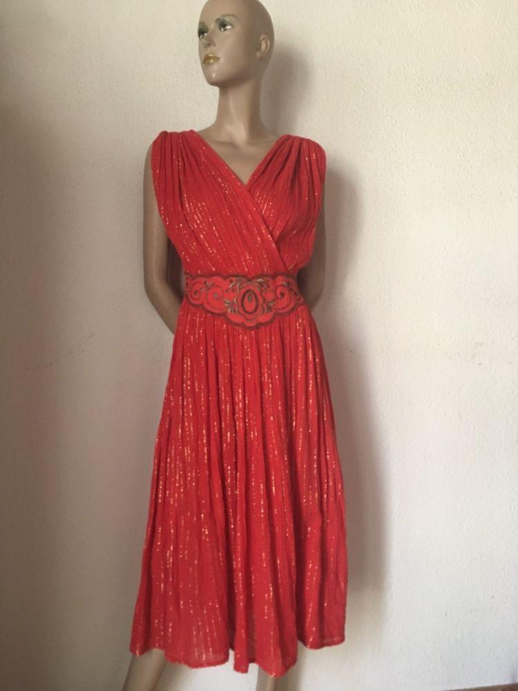65ec203db6a7 70er Kleid retro Hippie Kleid rot silber Streifen Baumwolle Krepp 38 ...