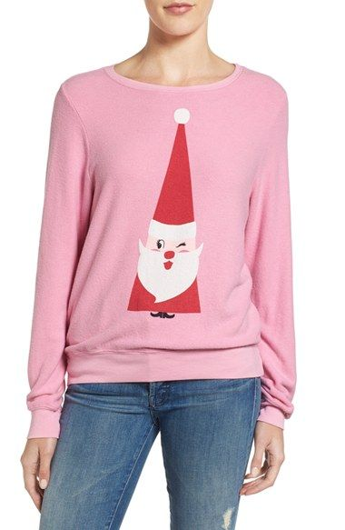 93008432f2 Free shipping and returns on Wildfox Baggy Beach Jumper - Winking Santa  Pullover at Nordstrom.com. Old Saint Nick adds a jolly touch to this  irreverent and ...