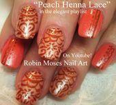 oranje nagels nail art perzik nagels henna nail art lace nail art Marokkaanse nail art …
