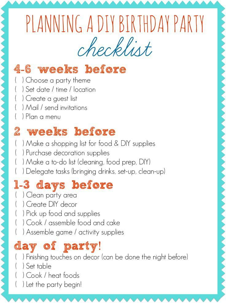 First Birthday Party Planner Checklist   Pinteres