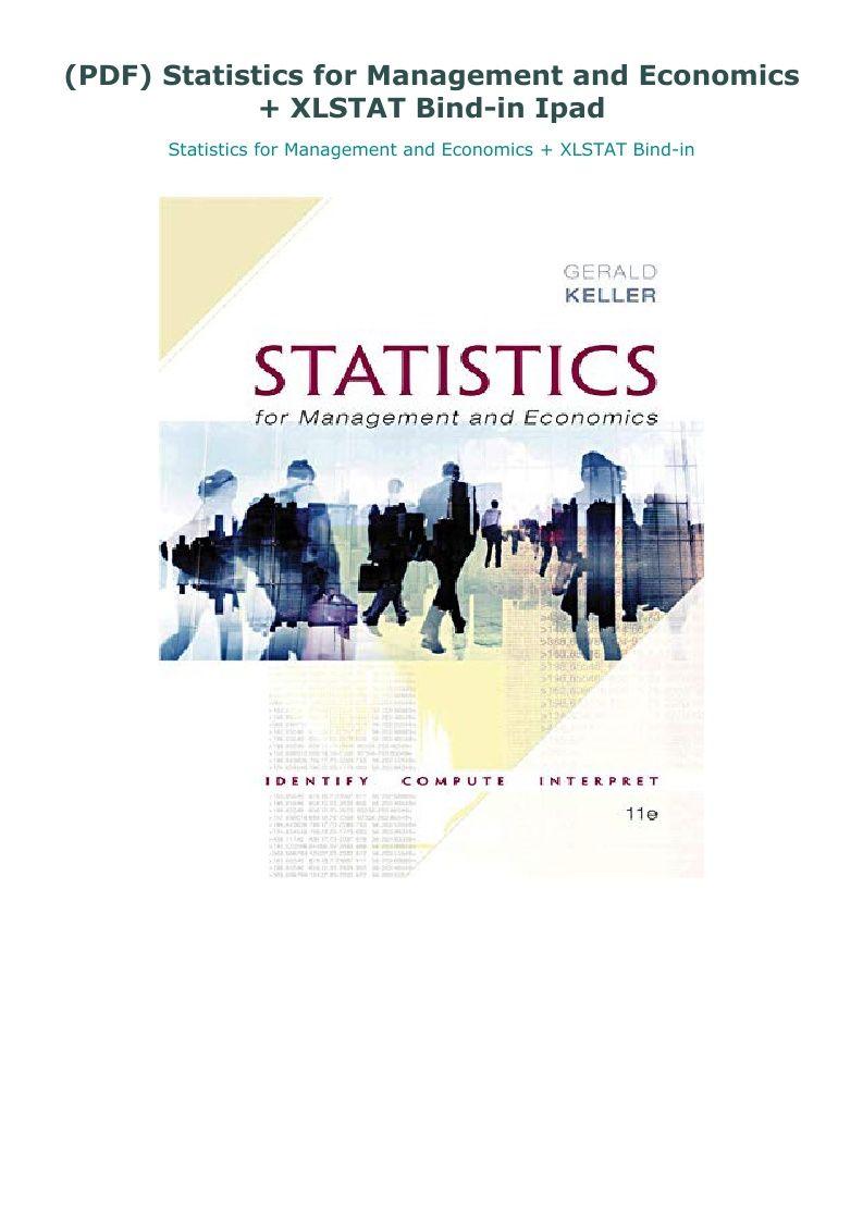 Pdf Statistics For Management And Economics Xlstat Bind In Ipad Economics Management Business Problems