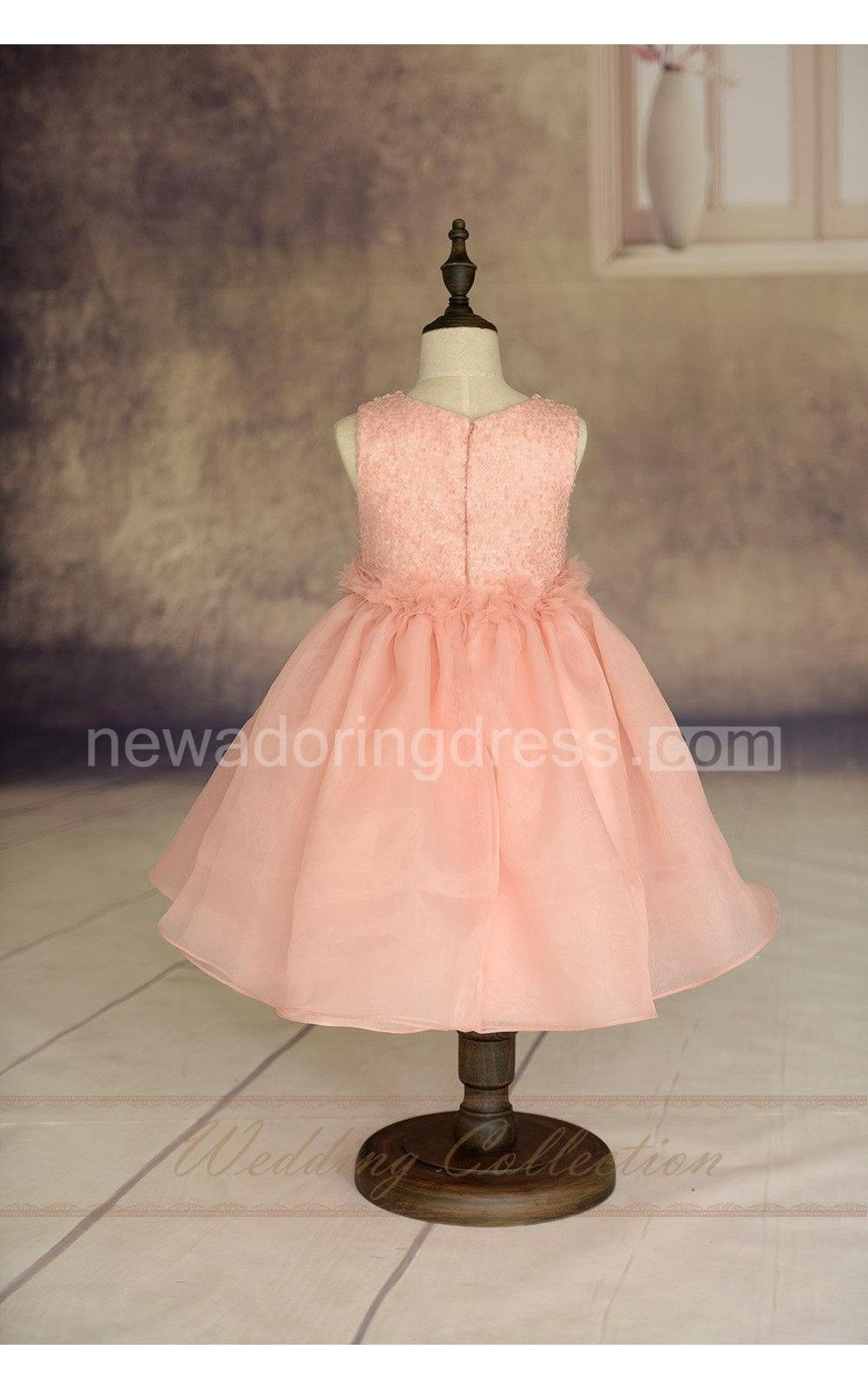 Blush pink flower girl dress handmade flowers waistband tulle skirt