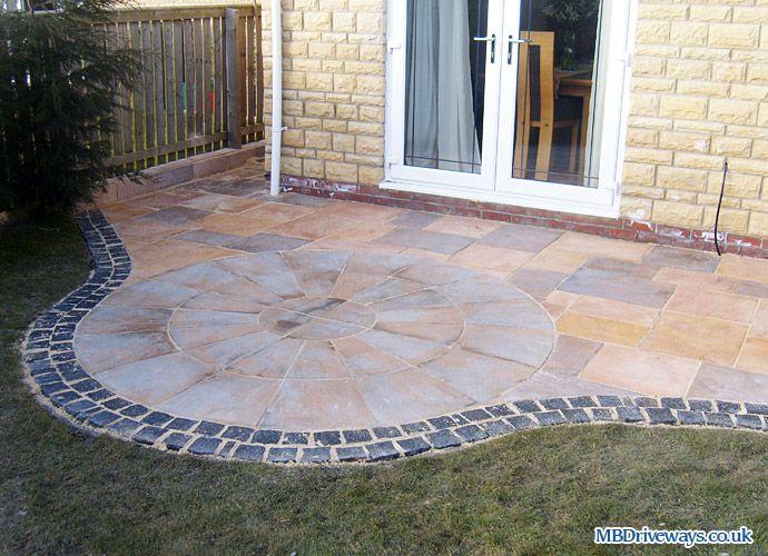 patio, edging, bradstone, old riven, flagstone, paving, border ... - Patio Border Ideas
