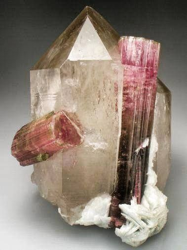 Look at this amazing Smokey Quartz Generator with Tourmaline Crystals...wow!!